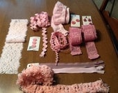 Pink inspirational bundle, craft kit, creative bundle, lace destash, buttons and lace
