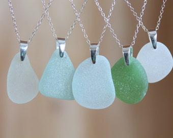 Sea Glass & Sterling Silver Necklace - White Pendant