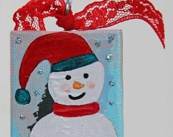 Snowman With Santa Hat Ornament on Canvas, Mixed Media Painting, Mini Canvas, Christmas Tree Ornament, Holiday Decoration, Original Artwork