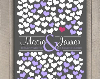 BRIDAL GIFT POSTER | 151 Guest Sign In 20x30 | Unique Wedding Guest Book | Wedding Dimensional Guestbook Poster | Gray and Purple Wed _03