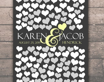 BRIDAL GIFT POSTER   Memoir Wedding Engagement Gift Poster   Interactive Art Print   108 Guest Sign In 16x20   Unique Wedding Guest Book_01