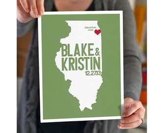 Illinois Wedding Gift - Personalized State and Heart - Anniversary - Custom Wedding Date - Location City and State Modern Art Print - 8x10