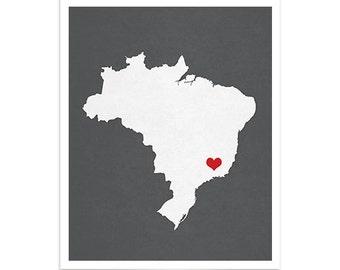 Brazil Map Custom Personalized Heart Print Hometown Wall Art Gift Souvenir República Federativa do Brasil