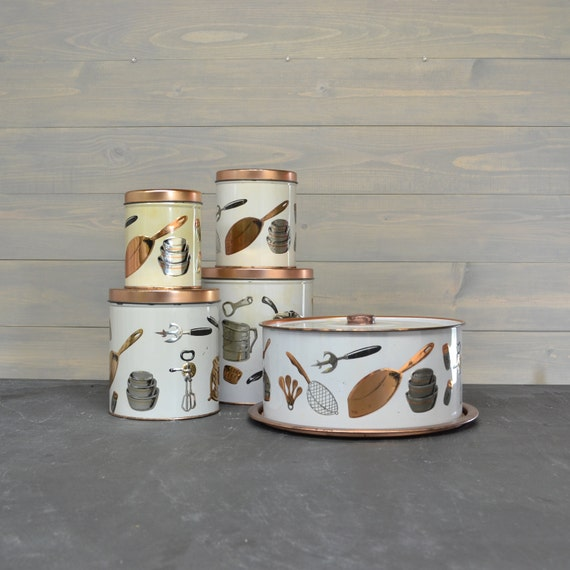 Metal Kitchen Storage Set - Copper and Silver Kitchen Utensils - Vintage Kitchen Canisters - Cake Carrier - Weibro Chicago - Set of 5