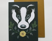 Blank greetings card - badger design