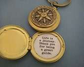 Fathers Day Compass Locket keychain with quote inside Life is a journey. Thank you for being a great guide. gift dad mentor teacher gift
