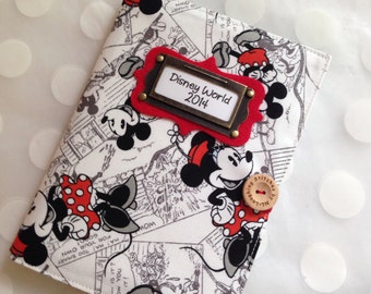 Photo Album Personalized Brag Book holds 48 Pictures - Disney Mickey Cartoon fabric