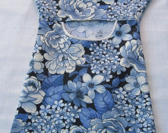 Blue Floral Clothespin Bag