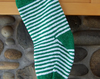 Green striped Christmas stocking, green and white striped stocking, knit stocking, green stocking, knit Christmas green, green Christmas