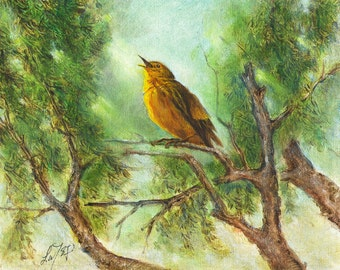 Original Oil BIRD Portrait Painting Art Artwork YELLOW WARBLER Singing Tree Artist Signed