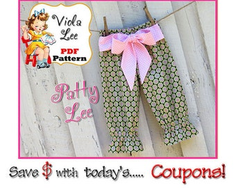 Patty... Toddler Pants Pattern pdf, Girls Capris Pattern, Girl's Sewing Pattern, Ruffle Pants, Toddler Sewing Pattern, Girl's Pants Pattern