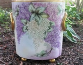 Heinrich & Co. Selb, Bavaria Purple, Lavender, and White Wisteria or Lilac Cache Pot