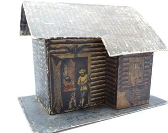 Antique German  Log Cabin Candy Container,  Antique Large Candy Box for Christmas