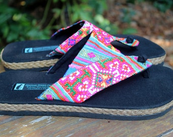 Vegan Womens Flip Flops Thong Sandals In Colorful Ethnic Hmong Embroidery