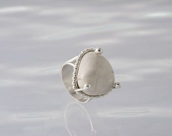 Sterling Silver ring with a Magnesite stone.