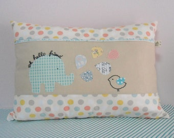 Embroidered/applique decorative Nursery pillow/cushion cover,Oh hello friend, Pastels/aqua/mint,Nursery decor,Shower gift idea,Made to order