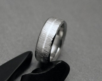 Titanium Silver Ring, Wood Grain Ring, Tree Bark Texture, Sterling Silver Pinstripe. Mens or Womens Ring, Wedding Engagement or Promise Ring