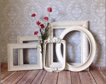 White Vintage Style PICTURE FRAMES - shabby chic Wedding - w/ Glass N Backing