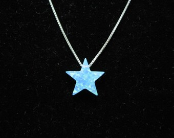 Blue Opal Star Necklace on fine Sterling Silver Chain, Shooting Charm Pendant