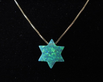 14K Gold Chain Green Opal Star of David Pendant Necklace, The Original