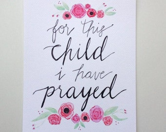 Art print for this child I have prayed pink