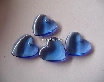 Heart, Briolette, blue, cobalt, unusual size, 18mm x 18mm, saphire, blue, london blue, navy, cobalt, beads, 4 pcs, 2  pairs, crystal, glass