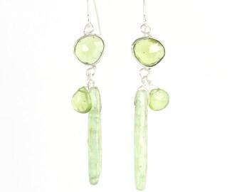 Rose Cut Peridot Earrings With Briolettes & Green Kyanite Drops