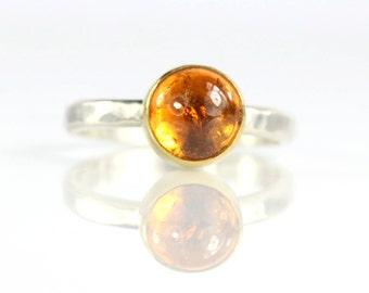 Orange Spessartite Garnet Cabochon Ring
