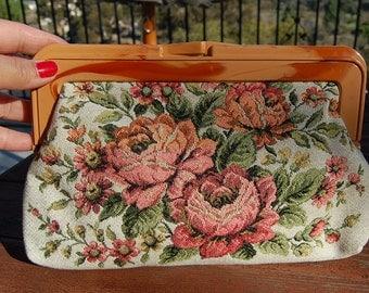 Vintage 1970's ROSES floral clutch bag purse boho fab LUCITE framed kiss lock