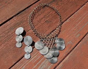 Sale~ vintage 1970' s BEN AMUN Coil Wire necklace choker Clip earring set boho bohemian hippie