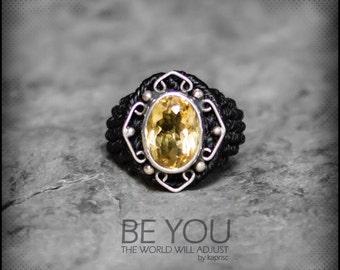 Citrine Silver 925 Macrame Ring