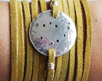 Capricorn constellation bracelet. Zodiac Jewelry. Zodiac gift. Personalized zodiac constellation bracelet. Capricorn gift. Leather wrap. RTS