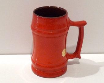 Frankoma M2 Mug Flame Glaze Vintage Stein Cup Bright Orange Coffee Cup Atomic Beer Mug vintage Kitchen Frankoma Pottery Oklahoma Mug 1970s