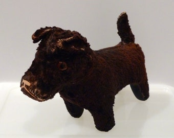 Brown Toy Dog with Squeaker 1940s Vintage Squeak Toy Doll Plush Toy Dog Fur and Glass eye Antique Dog Toy Collectible Childrens Squeaky