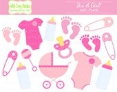 50% OFF  Baby Girl Clipart - Baby Shower Clipart - Pink Clip Art - Pink Baby Shower Graphics - Commercial Use - Instant Download