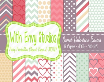 50% OFF  Valentines Day Digital Scrapbook Paper Pack, Valentine Scrapbook Paper Set, Pink Paper,