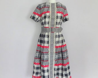 Vintage 50s Blue and Pink Gingham Party Dress