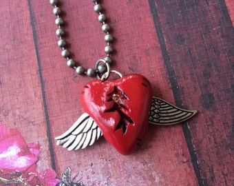 Steampunk Red Broken Tattered Mended Heart Pendant Necklace - Silver Wings - Rhinestone