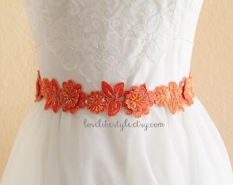 Orange Beaded Flower Lace Sash , Orange Lace Headband, Bridal Orange Sash Belt , Bridesmaid Sash, Flower Girl Sash / SH-08