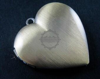 5pcs 29MM vintage brass bronze heart photo locket 1131017
