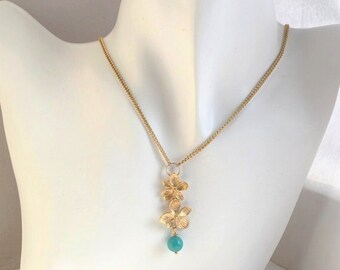 Natural Turquoise Stone Chain Pendant Necklace