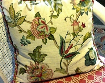Floral Pillow in Creams, Greens, Pinks, and Aqua