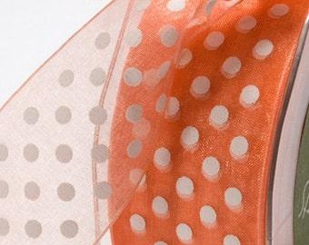 Orange  Ribbon .Baby Shower - Birthdays - Holiday Trims 5 yard   Polka Dots   Cards. Favors. Packaging Ribbon - Gift Ribbon