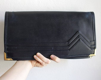 80s Leather CLUTCH // Vintage Italian