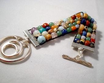 Bracelet - Multi Gemstone - Woven - Loom -Chunky - Rock Hound