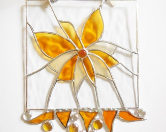 Orange Yellow Stained Glass Butterfly, Stained Glass Panel, Framed Art.
