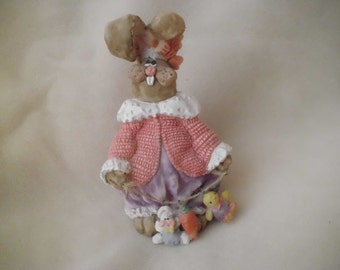 Vintage Resin Rabbit Figurine with Easter Toys and Carrot on a Rope Easter Bunny Decoration Vintage