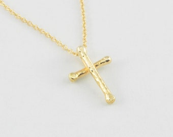 Solid 14K Gold Rustic Cross Necklace