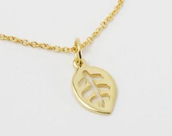 Solid 14K Gold Leaf Pendant
