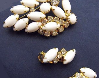 Milk Glass Brooch Earring Set Ice Clear Rhinestones Gold Metal Fancy Designer Style Vintage
